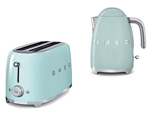 Smeg TSF02PGUK KLF01PGUK Toaster und Wasserkocher im 50er-Jahre-Stil, 4 Scheiben, Pastellgrün