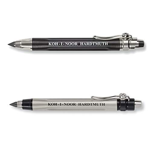 KOH-I-NOOR 5311 and 5312 - Metal mechanical pencil with mechanical clutch - 5.6 mm lead - 2 piece SET - Black and Silver