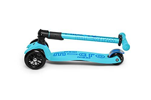 Micro® Maxi Deluxe Plegable, El Original. Patinete 3 Ruedas, 5-12 Años, Peso 2,5kg, Carga Máx 70Kg, Altura 67-91 cm, Plataforma Antideslizante Polipropileno (Azul Brillo, Única)