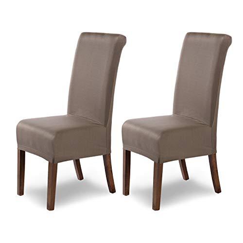 Housses de chaises SCHEFFLER-Home Marie 2 Set, résistant à l'eau élastiques Couverture Stretch, Couvre de Chaise, Taupe