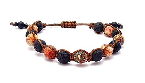 Ozean Jaspis Naturstein Perlen Shamballa-Armband mit Lavastein Perlen, Unisex, verstellbar