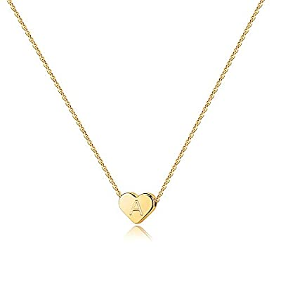 Turandoss Tiny Initial A Necklace for Girls - 14K Gold Filled Heart Initial A Necklaces for Women Girls, Tiny Initial Necklace for Girls Kids, Heart Initial Necklace Gifts for Women Girls Teens