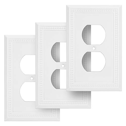 Harmon Designs Sunken Pearls Switch Plate/Wall Plate/Outlet Cover (Single Duplex 3PK, White)