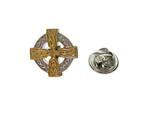 Kiola Designs Gold and Silver Toned Celtic Cross Lapel Pin