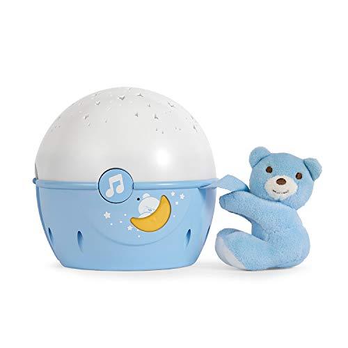 Chicco Next2Stars Nachtlicht Baby Sternenhimmel Projektor mit Plüschtier - Sternenlicht Projektor für Babybettchen, Nachtlicht mit Soundsensor, 3 Lichteffekte und Musik - 0+ Monate, Blau
