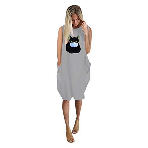 URIBAKY Cat Drucken Damen Trägerlos Ärmelloses Tasche Casual Kleider,Sommerkleider T Shirt Jumper Ladies Oversized Baggy Pullover Minikleid Große Größen