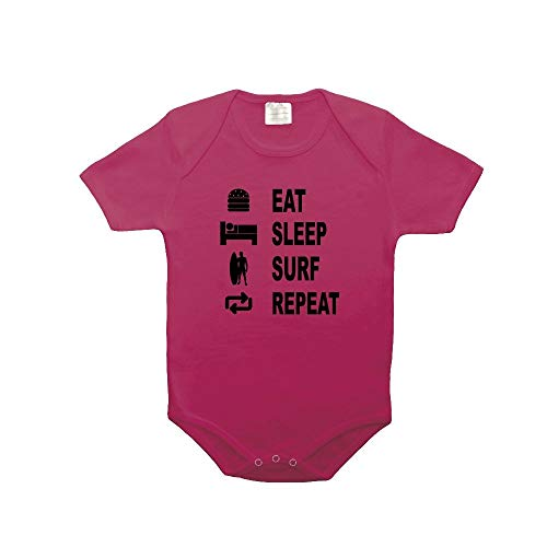 Mygoodprice Body bébé 100% Coton Eat Sleep Surf Fushia 18-23 Mois