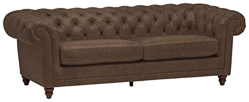 Stone & Beam Bradbury Chesterfield Tufted Leather Sofa Couch, 92.9'W, Chestnut Brown