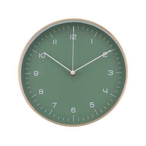 LUUK LIFESTYLE Hochwertige, Schlichte und lautlose Nordic Design Quarz Wanduhr ohne Tickgeräusche, Küchenuhr, Wohnzimmer Uhr, Büro Wanduhr, Flur, dunkel-grün