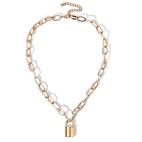 ROTAKUMA Rock-Hals Schloss Halskette Layered-Kette Auf Dem Hals Schmuck Schlüssel Vorhängeschloss Anhänger Halskette for Frauen-Geschenk (Metal Color : C2601)