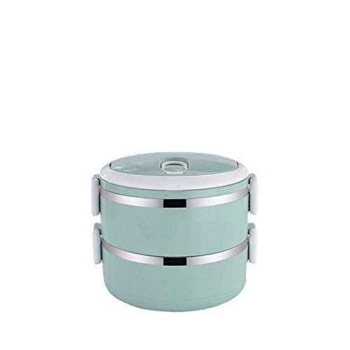 Serria® Edelstahl-Isolierbrotdose stapelt Lebensmittelbehälter Thermobehälter Lunchbox Speisegefäß Essensbehälter Warmhaltebox Ideal für Schule, Picknicks, Reisen, Blau C