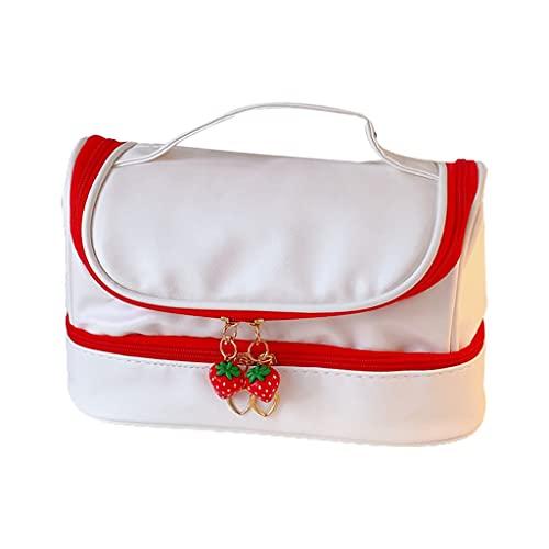 gulang-keng Bolso de mano con cremallera de 2 capas, bolsillo oculto de malla con cremallera colgante de dibujos animados, bolsa de almacenamiento grande de grapas,