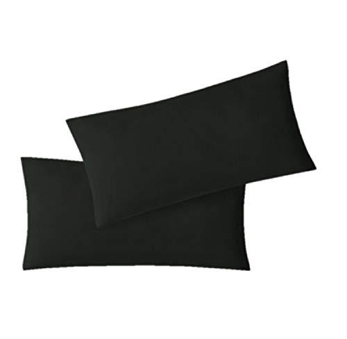 EXKLUSIV HEIMTEXTIL Fundas de Almohada de Jersey 2 Pack económico con Cremallera 40 x 60 cm Negro