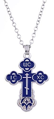 AMOZ Dawapara - Collar con colgante religioso cristiano ortodoxo con cruz de Jesucristo, para mujer, hombre, azul, cadena de eslabones de tono plateado