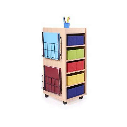 Guidecraft Rolling Storage Cart with 5 Fabric Bins: Store School, Art & Craft and Office Supplies