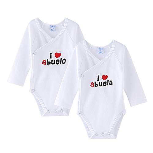 Amomí Body para Bebé, Pack de 2 unidades, Manga Larga, 100% algodón, Suave Bodies con Botones de Presión, Color Blanco y Crudo (1 Mes, I Love Abuelos)