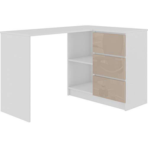 ADGO B16 - Mesa de ordenador esquinera de madera, 124 x 77 x 85 cm, con 3 cajones para un espacio para niños y adolescentes, taller y oficina (correcto, brillo de capuchino)