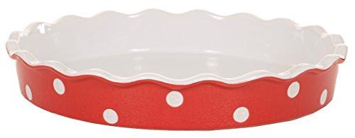 Isabelle Rose Quiche - / Tarte Form aus Keramik - rot polka dot - 30cm x 30cm x 5 cm