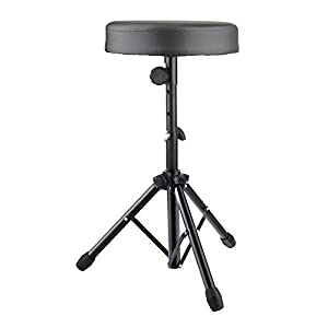 Drum Throne Padded Seat Adjustable Height Rotatable Drum Stool for Adults and Kids (Black)