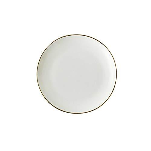 KXLB Kxlbhjxb Oro Borde de la Placa de cerámica Plato Blanco vajilla de Porcelana de Estilo Occidental Platos de la Cena Y Placas Conjuntos Platillo (Color : 10 Inches)