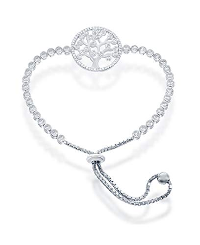 Silver Roots Sterling Silver Adjustable Tree of Life Clear CZ Bolo Bracelet