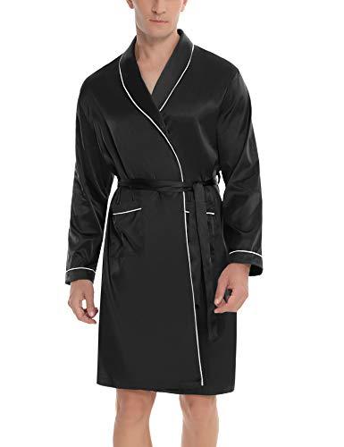 Hawiton Morgenmantel Herren Kimono Satin Robe Langarm Nachtwäsche Herren Nachthemd Satin Negligee Lang Sleepwear V Ausschnitt mit Gürtel