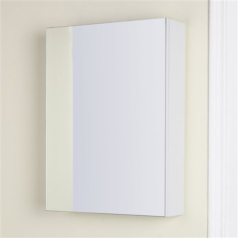 Angelina White Gloss Slimline Mirrored Bathroom Cabinet 450mm 450