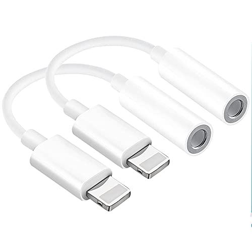[2 Pack] Adaptador de Auriculares para iPhone SE,Adaptador Dongles Audio Auxiliar Jack de 3,5 mm Convertidor Compatible para iPhone 7/8/X/XR/Xs/Xs Max/11/11 Pro Max/12 Mini/12 Pro Max Todos los iOS