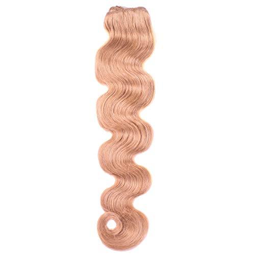 hair2heart 100g Echthaar-Tresse - gewellt - 60 cm - #12 honigblond