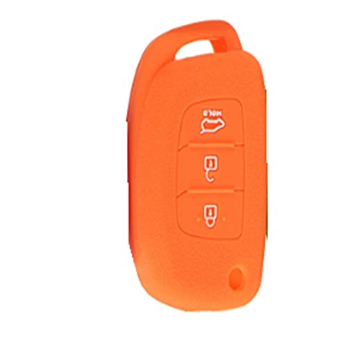 JenNiFer 3Buttons Silicone Fob Remote Key Case Cover Für Hyundai I30 Ix35 Elantra Verna Tucson - Orange