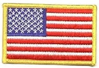 American Flag Embroidered Patch Gold Border Uniform Emblem Decal USA United States of America Military by Uniform World