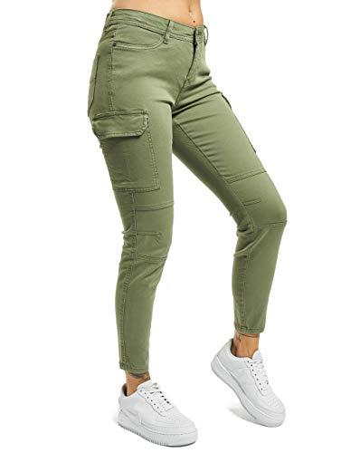 Sublevel Damen Skinny Cargo-Hose mit Seitentaschen Middle-Green S