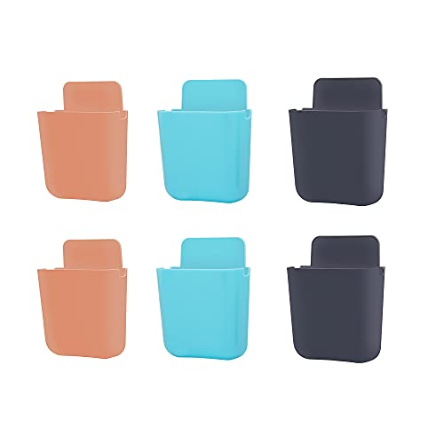 Primelife 6 Pcs Mobile Phone Holder, Toothbrush Holder, Remote Control Holder, Glasses Holder, Wall Mount Hole Free, Self-Adhesive Cute Storage Box – Multicolour (Phone Holder)(6)