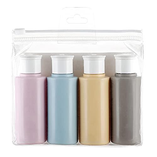 QAY Juego de 4 recipientes de viaje, 60 ml transparentes botellas de viaje con tapa abatible, para dispensador de loción cosmética líquida