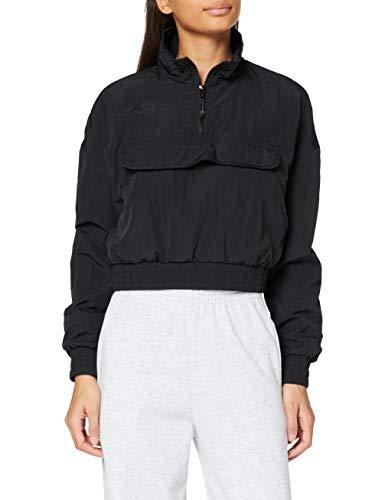 Urban Classics Damen Ladies Cropped Crinkle Nylon Pull Over Jacket Windbreaker, Black, 3XL
