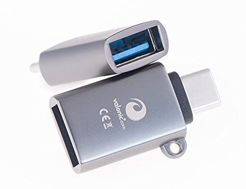 valonic adattatore da USB C a USB A - 2 pezzi, grigio - incl. occhiello e portachiavi - compatibile con Apple Macbook, disco rigido esterno, chiavetta USB.