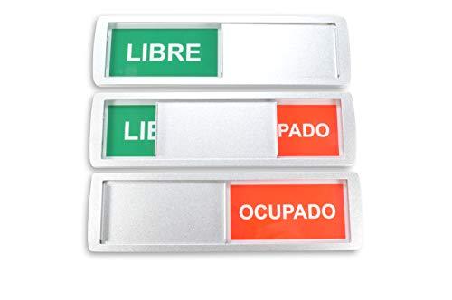 1 grandes letreros deslizantes LIBRE/OCUPADO - 17.5 x 5 cm - Letrero con función deslizante para indicar el estado de una habitación - Adhesivo de alta calidad por la marca mundialmente 3M