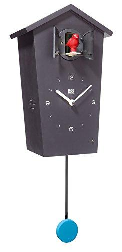 KOOKOO Birdhouse Negro, Reloj cucu Design Moderno, Sonidos de 12 Aves o el Cuco, Reloj pájaros cantores c. péndulo, grabaciónes Naturales de Jean-Claude Roché