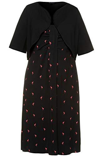 Ulla Popken Damen große Größen Kleid mit Bolero schwarz 58/60 748024 10-58+