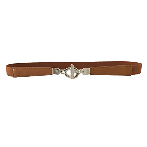 PmseK Gürtel Damen Herren, Elastic Belts For Women Female Belt Luxury Metal Buckle Waist Chain Belts For Ladies Dresses Fabric Thin Belts Vintage BROWN 70cm