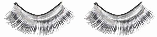 Amscan 397281.18 Non Toxic Self Adhesive Tinsel False Eyelashes, Silver