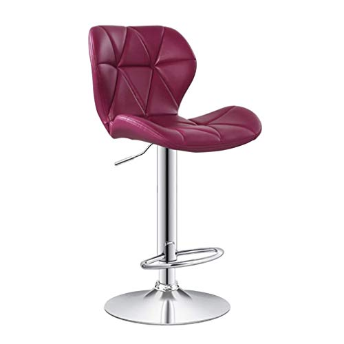 ESSEASON Sedie da Bar Adjus Sgabello Girevole Altezza bancone con Schienale, Moderni sgabelli rotanti in Pelle PU per sgabelli da Cucina sedie da Pranzo 6 Colori, 60-80 cm (Colore: Fucsia)