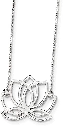 LKLFC Collar para Mujer Collar para Hombre Colgante Collar de Plata esterlina con 18 Pulgadas 18 Pulgadas Collar con Colgante de Flor de Loto Regalo para niñas Niños