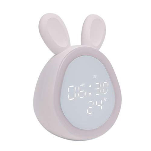 MagiDeal Reloj Despertador para niños lámpara de Noche LED con Control de Sonido, decoración de habitación para niños - Rosa
