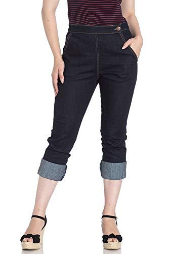 Pescadores Capri Pantalones 3/4 de Hell Bunny Charlie Denim Jeans de estilo de los años 50s Vintage Retro - Azul (XL - ES 44)
