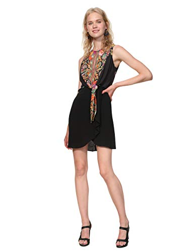 Desigual Dress Sleeveless Vilma Woman Black Vestito, Nero (Negro 2000), EU 38 Donna
