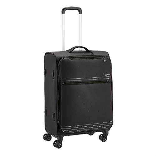 Amazon Basics Lightweight Luggage Softside Spinner Travel Suitcase with Wheels  27 Inch Black