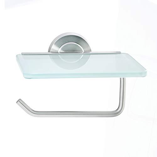 AMARE Papierrollenhalter Toilettenpapierhalter, Edelstahl, Silber, 14