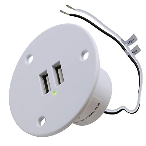 Facon USB-Ladebuchse Power Einbauhalterung mit grüner Kontrollleuchte, Steckdose 5V 2.4A für Wohnmobilanhänger Camper Boat Marine Motorhome