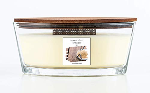 Forest Wick - Large Oval Scented Soy Candle with Crackling Wick | Up to 35 Hours Burn Time - In glass Jar with Lid. Beautiful gift candle set or candle for your home. (Warm Vanilla Sugar)